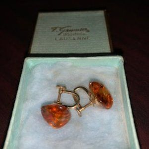 Vintage Amber stone earrings